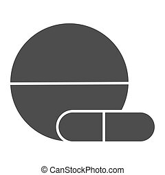 Tablet and capsule solid icon, Medical concept, Pills sign on white background, Medical tablet and pill icon in glyph style for mobile concept and web design. Vector graphics.