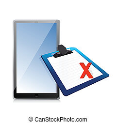 tablet and clipboard with xmark
