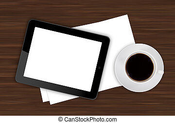 Tablet and Coffee on Office Table