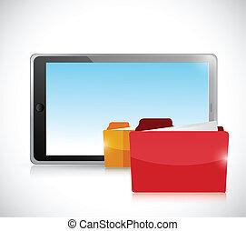 tablet and folders illustration design