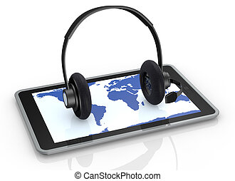 tablet and headphones