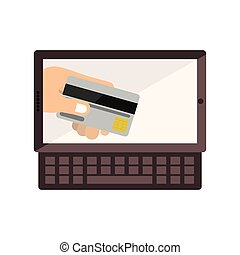 tablet and keyboard with display with credit card in hand