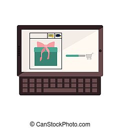 tablet and keyboard with gift in shopping cart