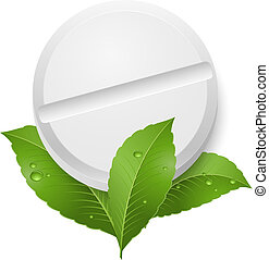 Tablet and leaves. Illustration on white background
