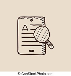 Tablet and magnifying glass sketch icon.