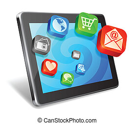 Tablet and media icons.