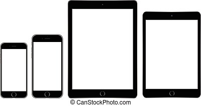 tablet and mobile phone on white background