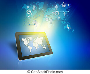 Tablet and people icons symbolizing the demographics of the...