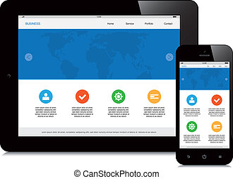 tablet and phone responsive webdesign on white background