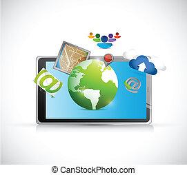tablet and set of apps illustration design