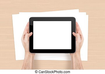Tablet and Sheet on Office Table