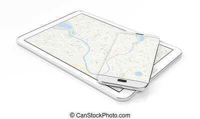 Tablet and smartphone with map on screen, isolated on white background.