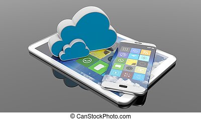 Tablet and smartphone with square apps and cloud icons, isolated on black.
