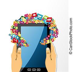 tablet, app, houden, icons., pc, menselijke handen