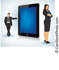 tablet, apparaat, met, zakenlui