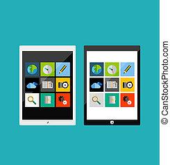 Tablet apps responsive flat ui design