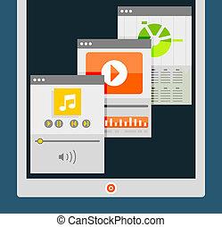 Tablet apps trendy flat design