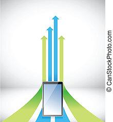 tablet Arrow rising toward same direction success