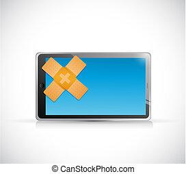 tablet band aid fix solution concept illustration design...