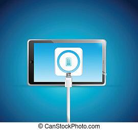 tablet battery recharge illustration
