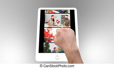 Tablet being used to watch