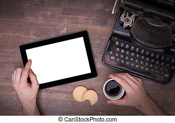 tablet, beroeren, computer, gadget, op, wooden table