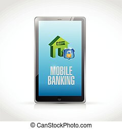 tablet, beweeglijk, bankwezen, illustratie, ontwerp