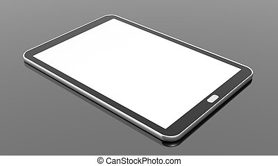 Tablet blank screen template, isolated on black background.