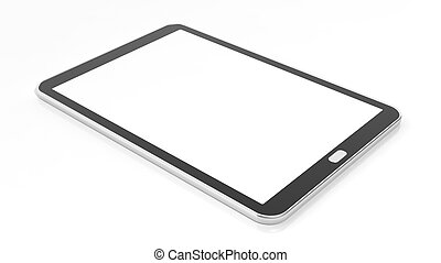 Tablet blank screen template, isolated on white background.