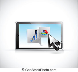 tablet business message bubble illustration