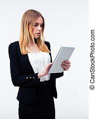 tablet, businesswoman, jonge, computer, gebruik