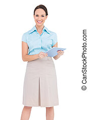 tablet, businesswoman, jonge, pc, vasthouden, vrolijke