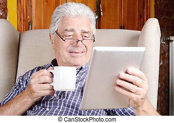 tablet., café, homme, boire, utilisation