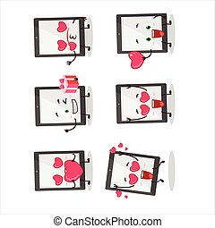 Tablet cartoon character with love cute emoticon