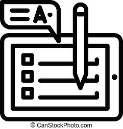 Tablet checklist icon, outline style