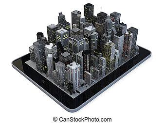 Tablet city - Modern city on a tablet