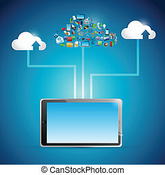 tablet cloud computing icon network illustration