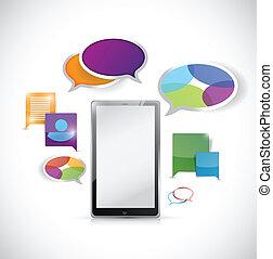 tablet colorful communication illustration design