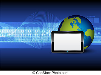 tablet computer and globe on digital background
