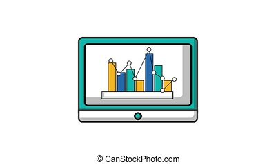 tablet computer and statistics chart graph animation hd