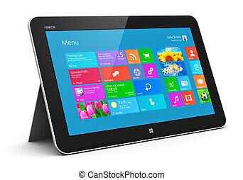 Creative abstract mobility and wireless communication business office internet web concept: modern black glossy tablet computer PC with color touchscreen interface with colorful icons isolated on white background Design is my own and all text labels are fully abstract