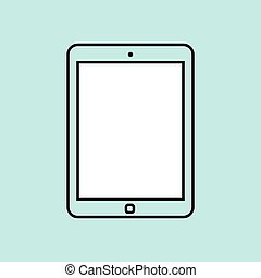 tablet computer design template element for web and mobile applications. Stroke thin line flat minimalistic style. Vector illustration eps10.