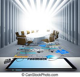 tablet, computer, en, sociaal, netwerk, pictogram, concept