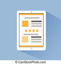 tablet computer flat icons design vector shadow