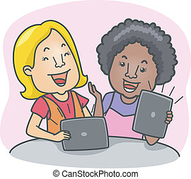 Tablet Computer Girls - Illustration of Girls Using Tablet...