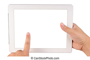 Tablet computer - Hand holding a tablet computer with blank...