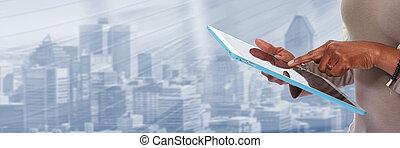 tablet, computer., handen