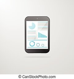 tablet computer icon with graph vector illustration