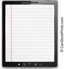 Tablet computer with lined paper on the screen, vector eps10...