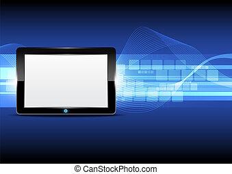 tablet, computer, met, technologie, achtergrond
